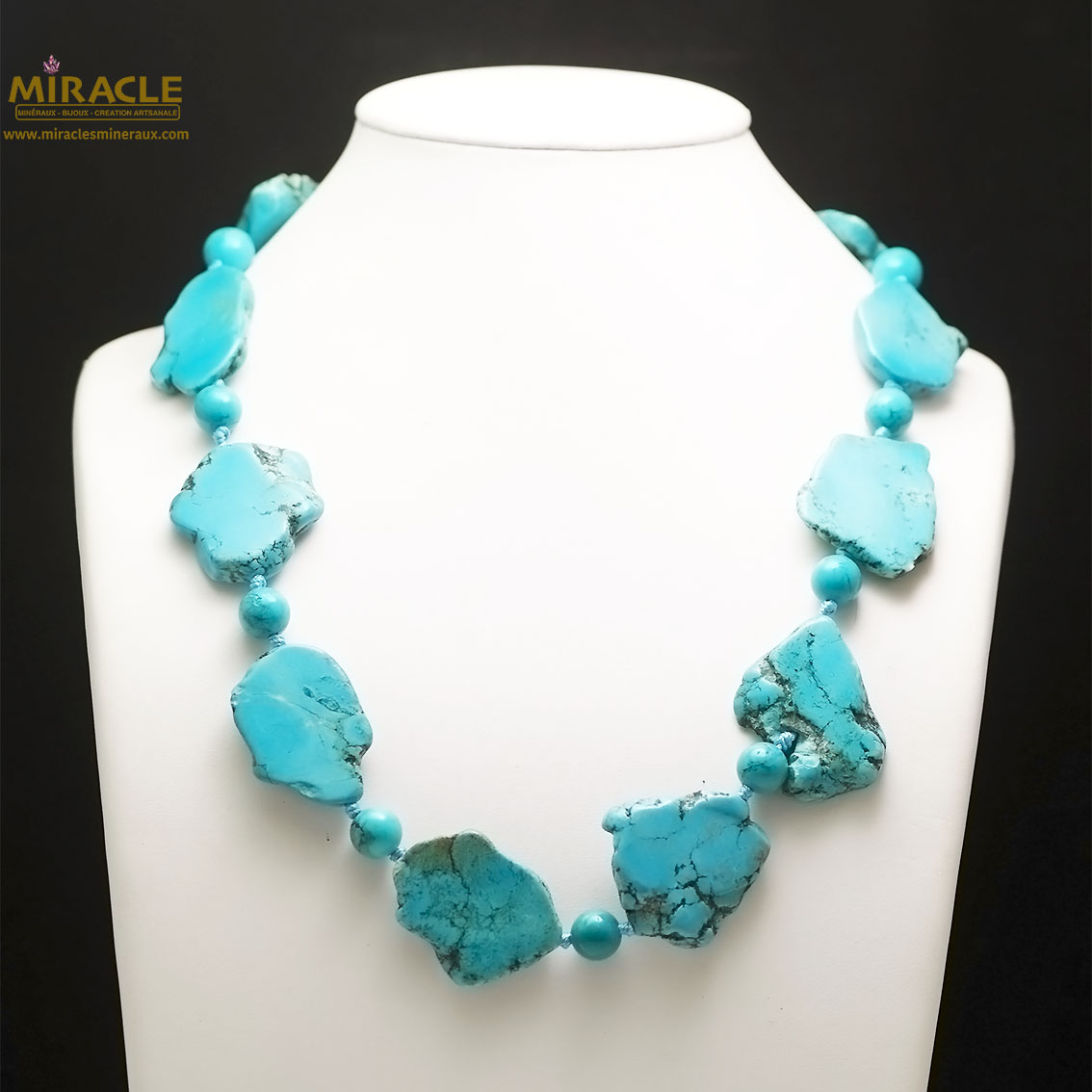 collier turquoise, perle plaque brut/ronde 10 mm