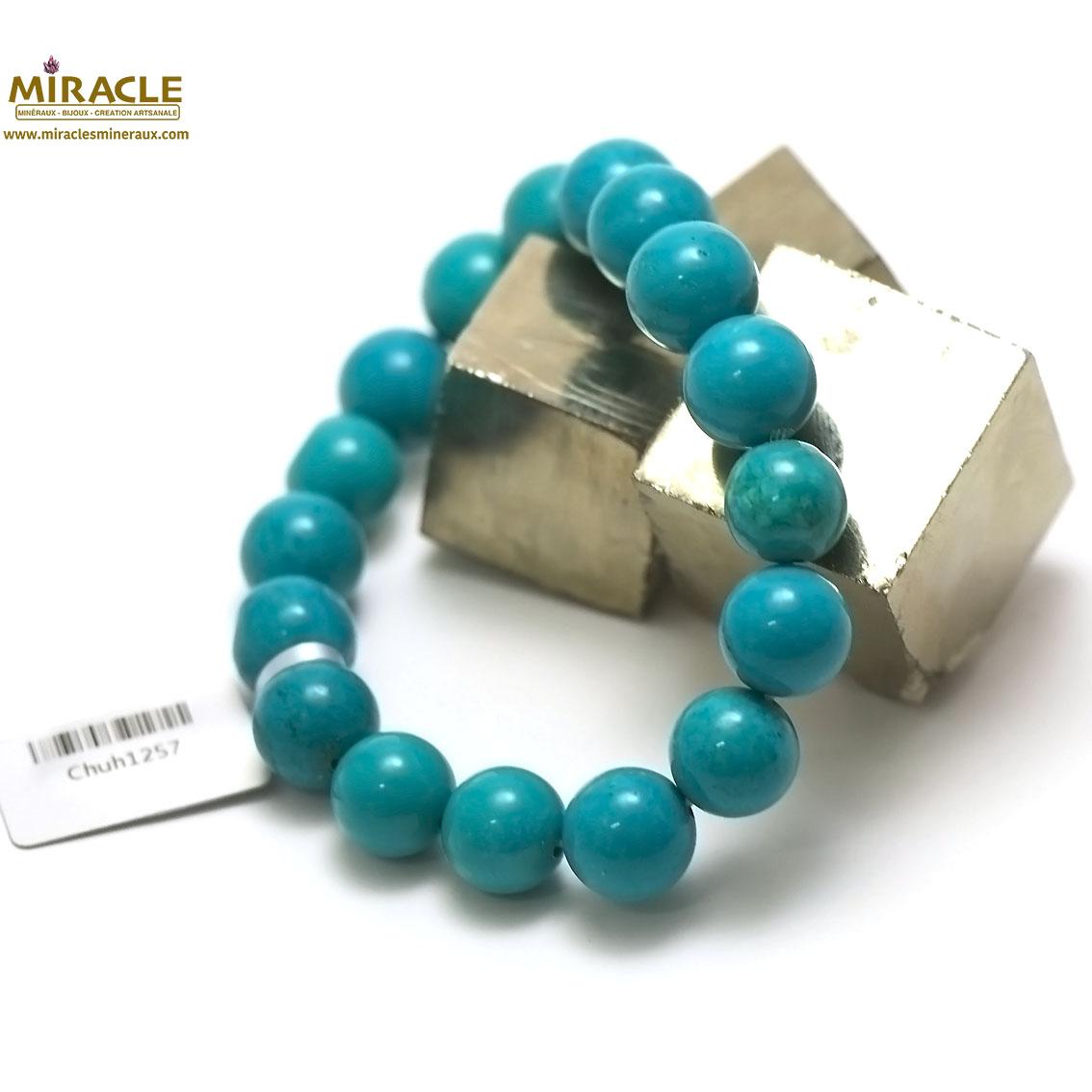 bracelet turquoise,perle ronde 12 mm