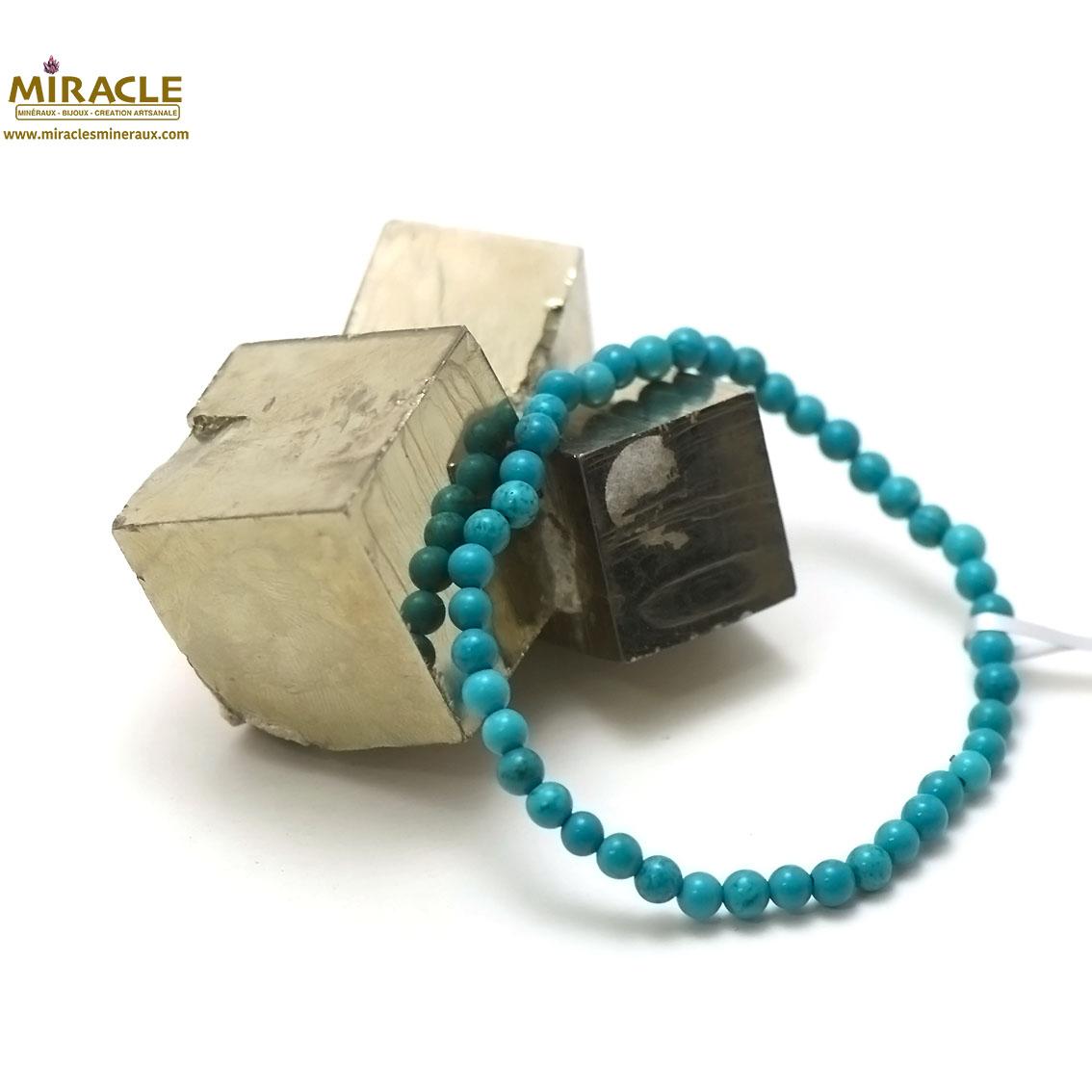 bracelet turquoise, perle ronde 4 mm