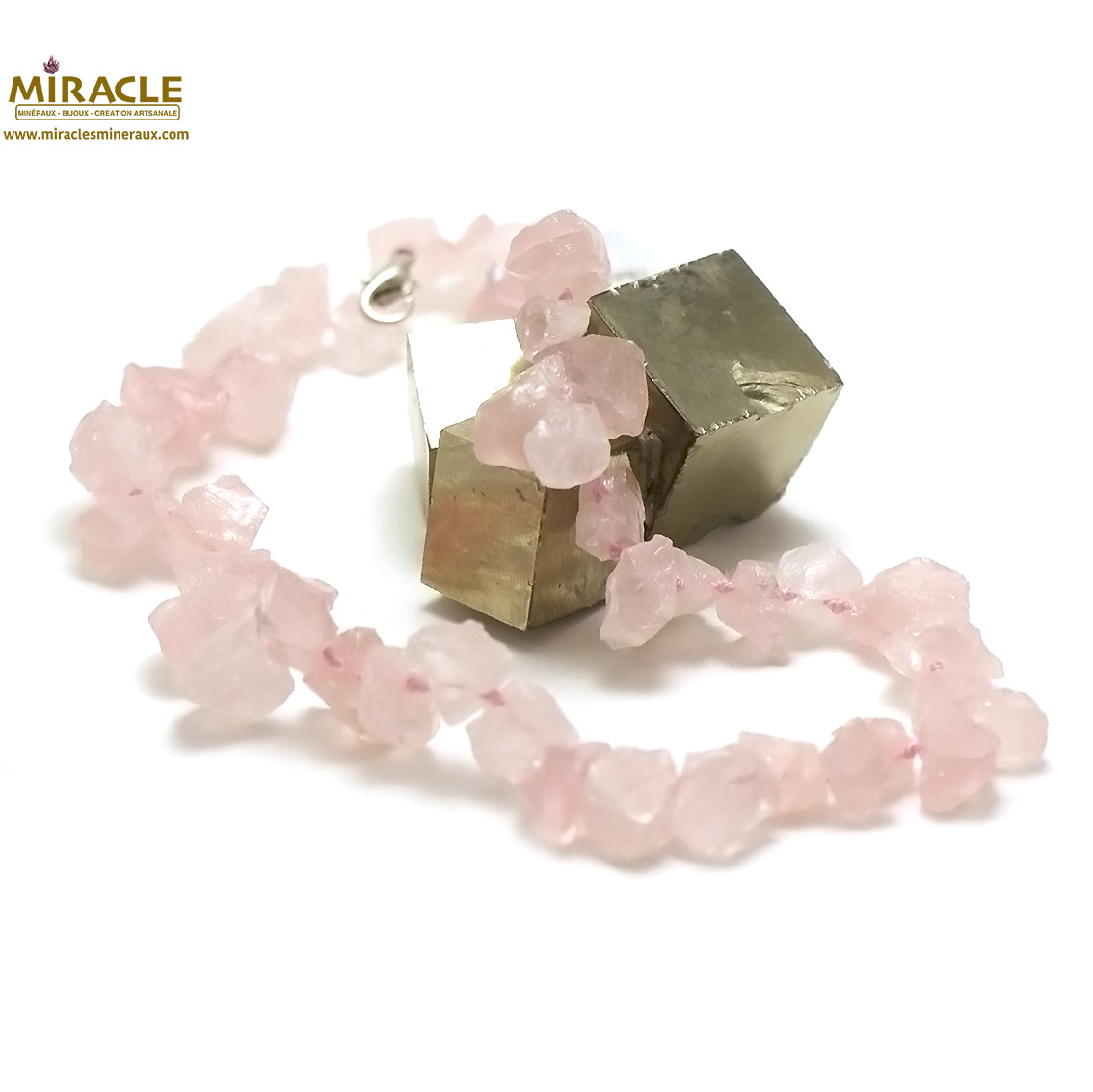 collier quartz rose, perle galet brut