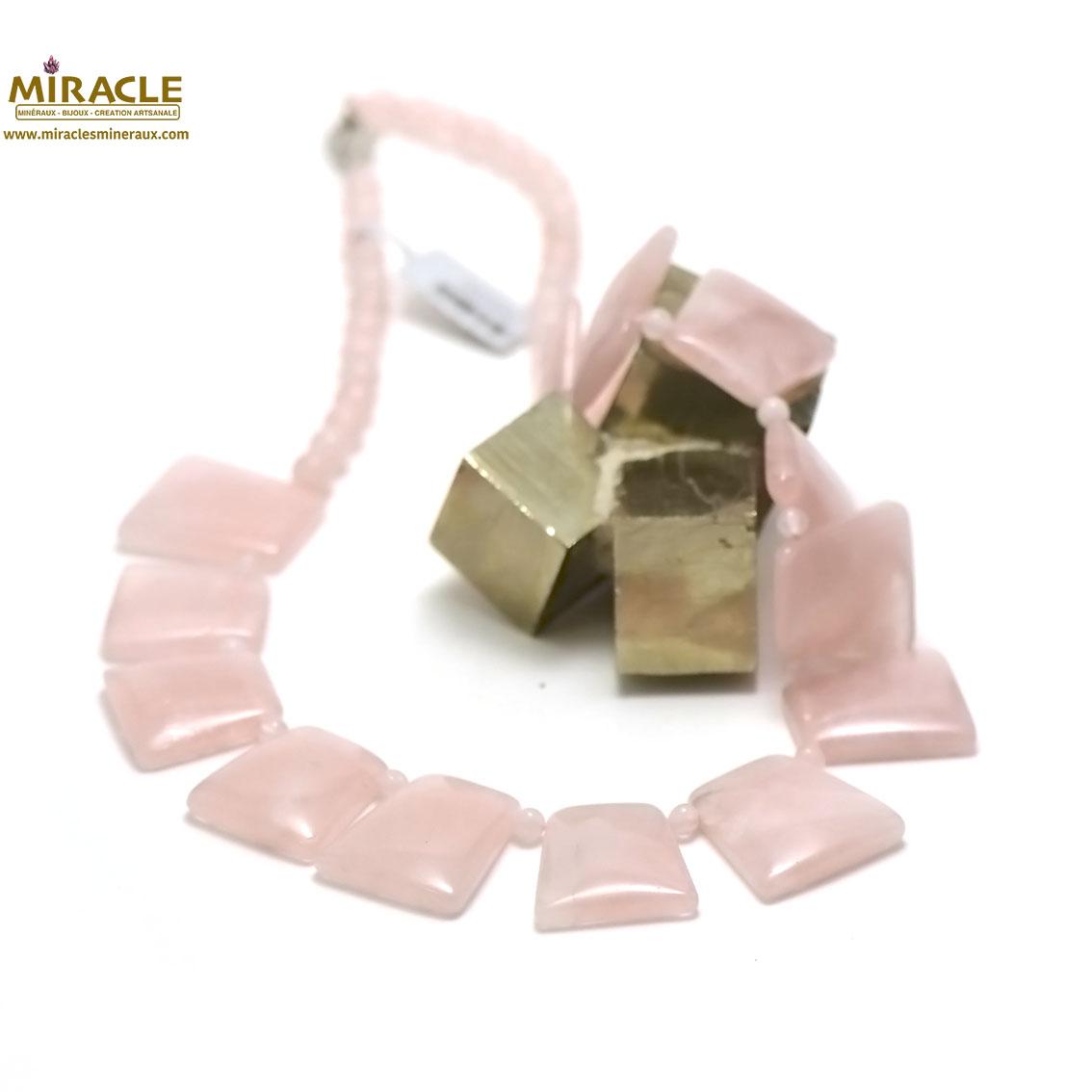 collier quartz rose, perle trapèze-ronde 6 mm
