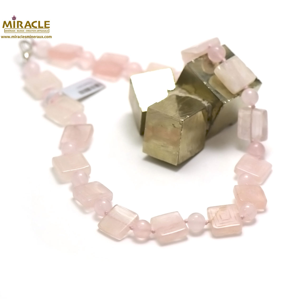 collier quartz rose, perle carrée motif /8 mm