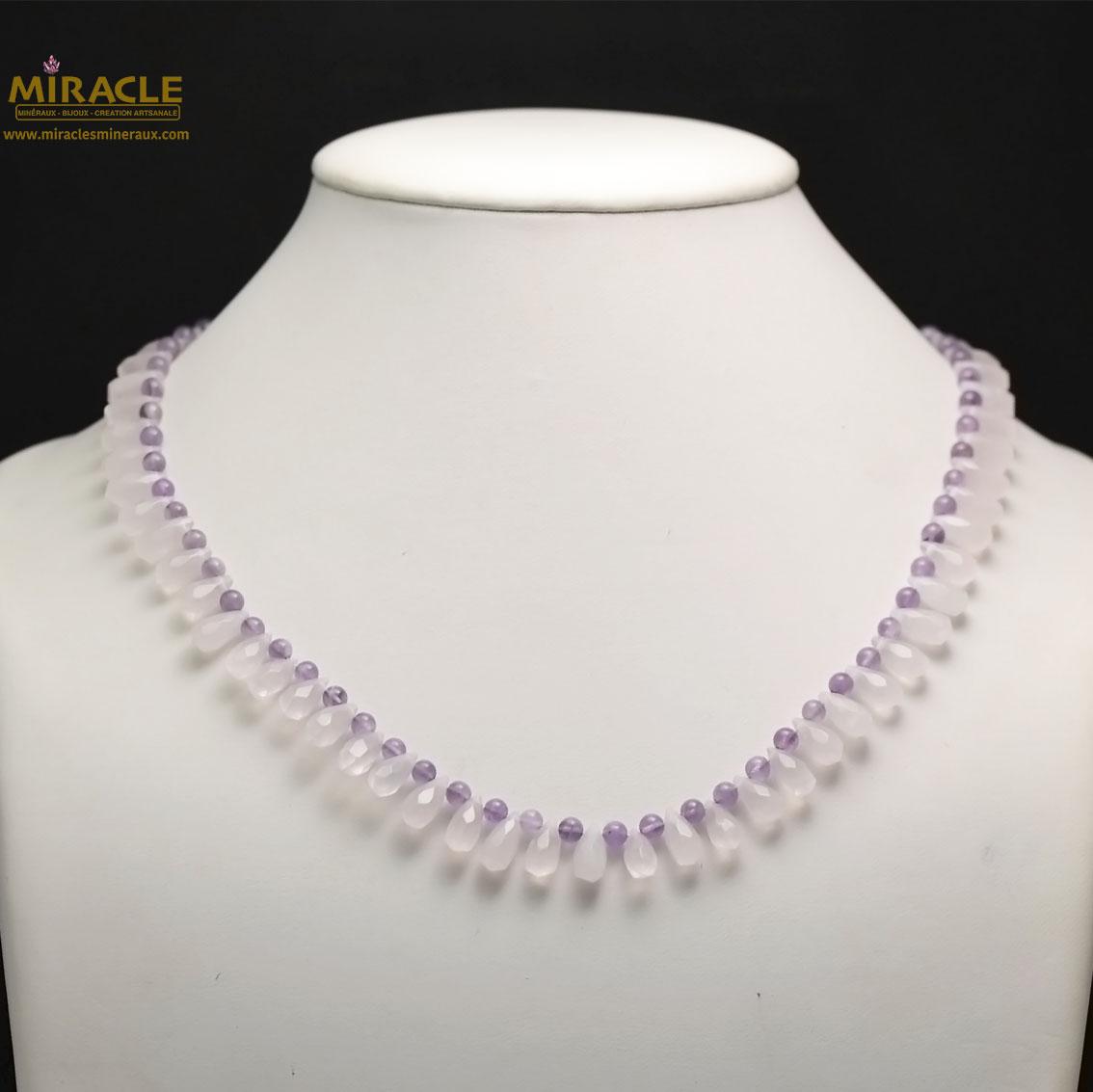 collier quartz rose/améthyste ,perle mini goutte d\'eau/ronde 4 mm