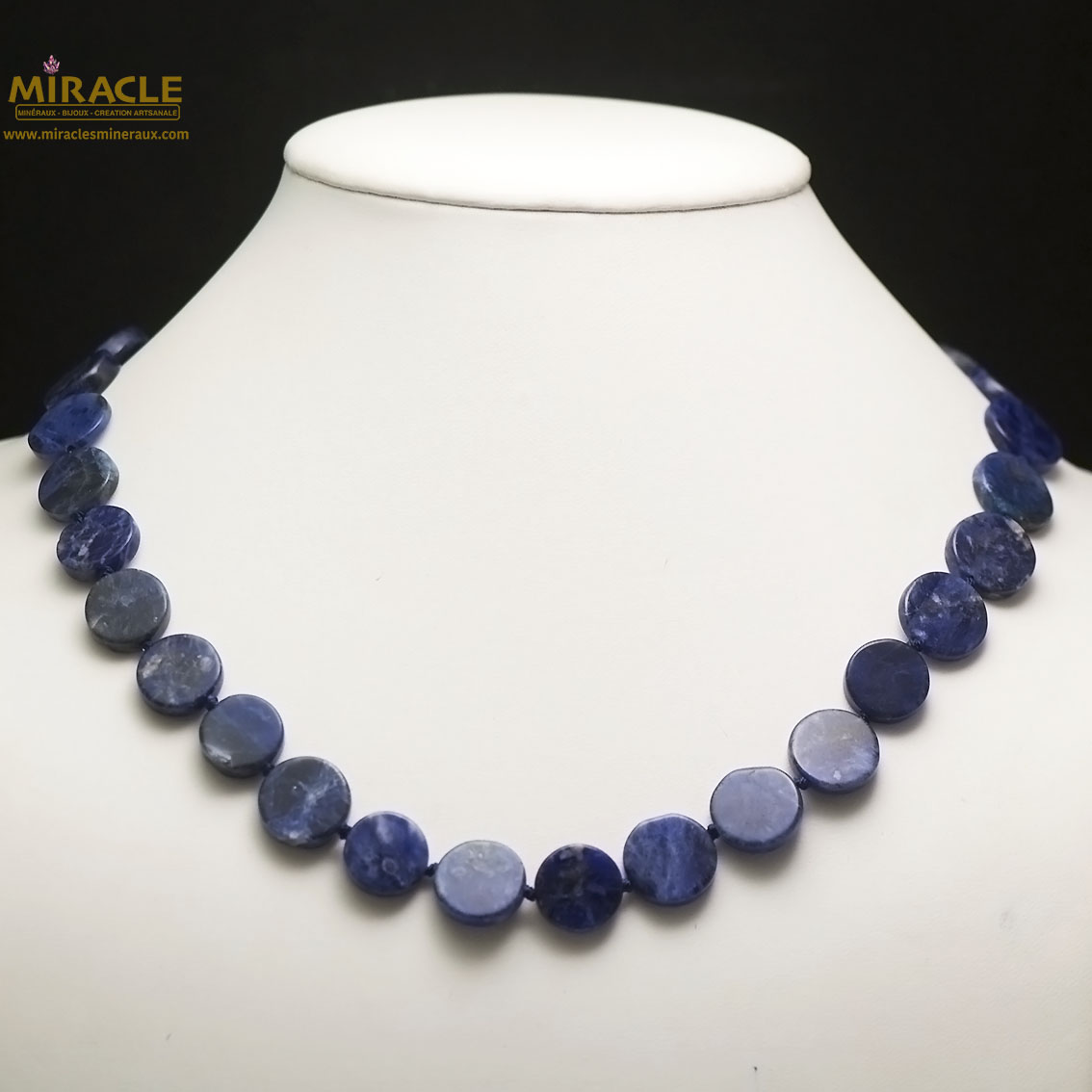 collier sodalite, perle palet rond