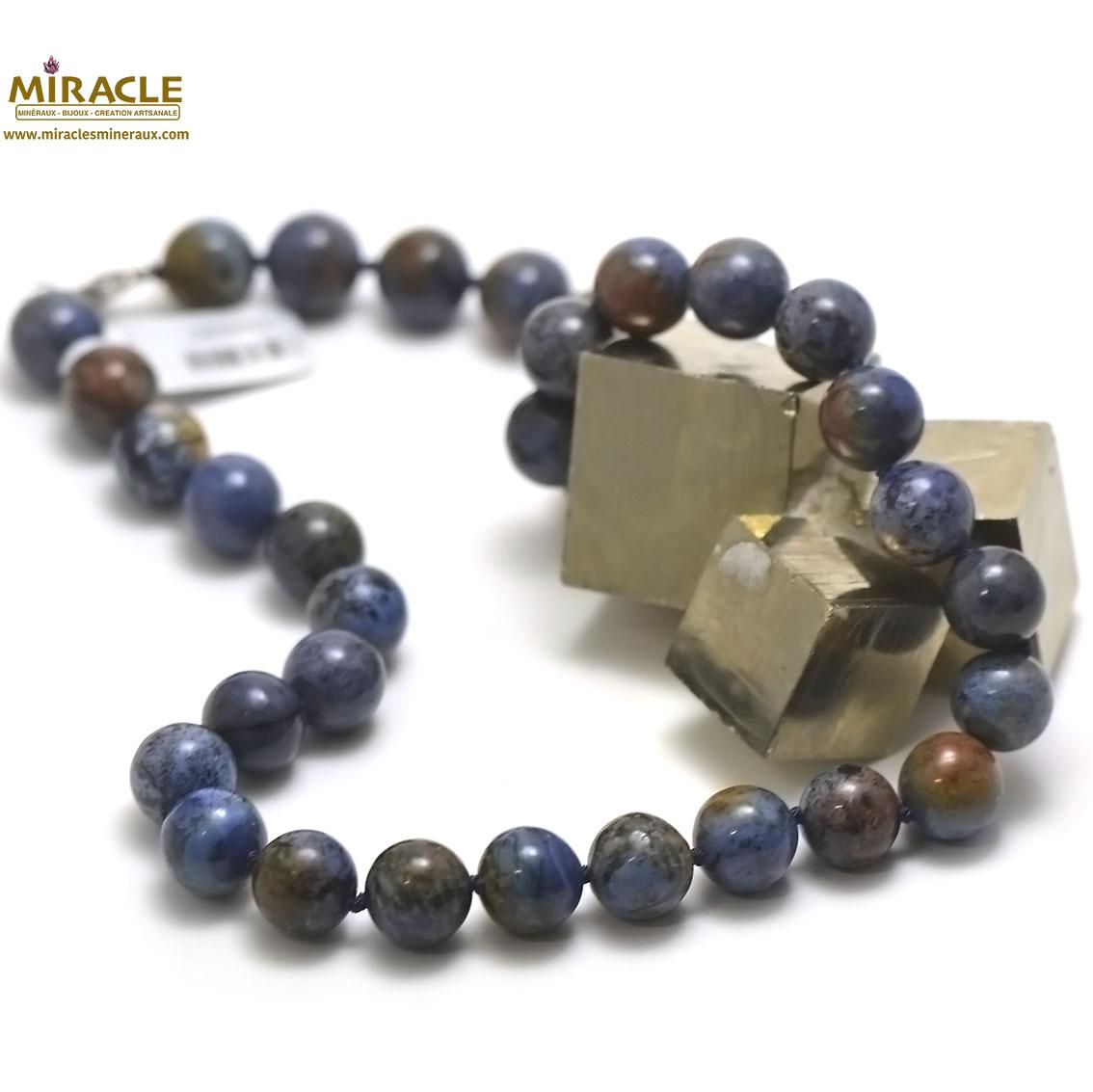 collier dumortierite, perle ronde 12 mm