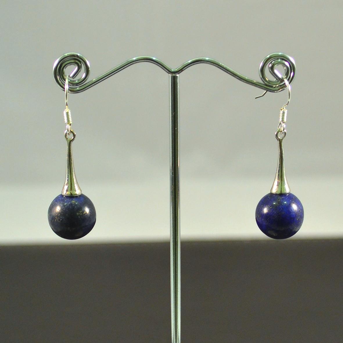 Boucle d\'oreille  Lapis Lazuli ronde 12mm lustre