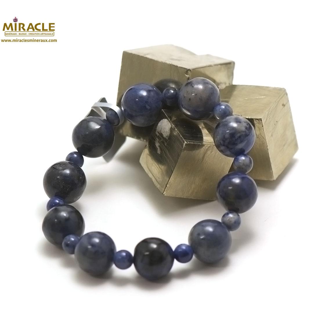 bracelet dumortierite, perle ronde 14-6 mm