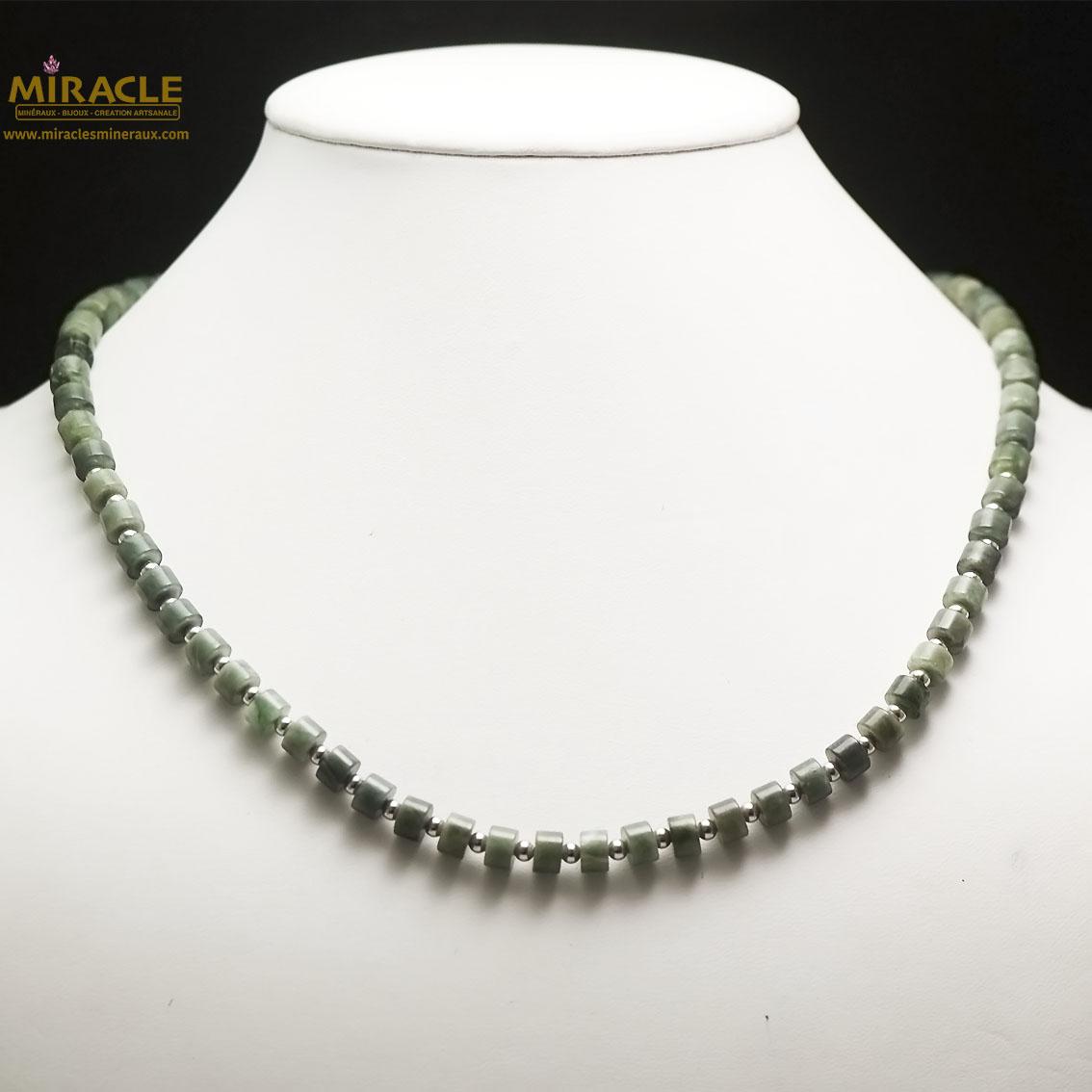 Collier jade néphrite de Canada, perle rondelle/perle argenté