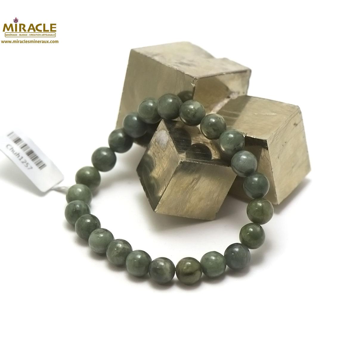 Bracelet jade néphrite de Canada, perle ronde 8 mm