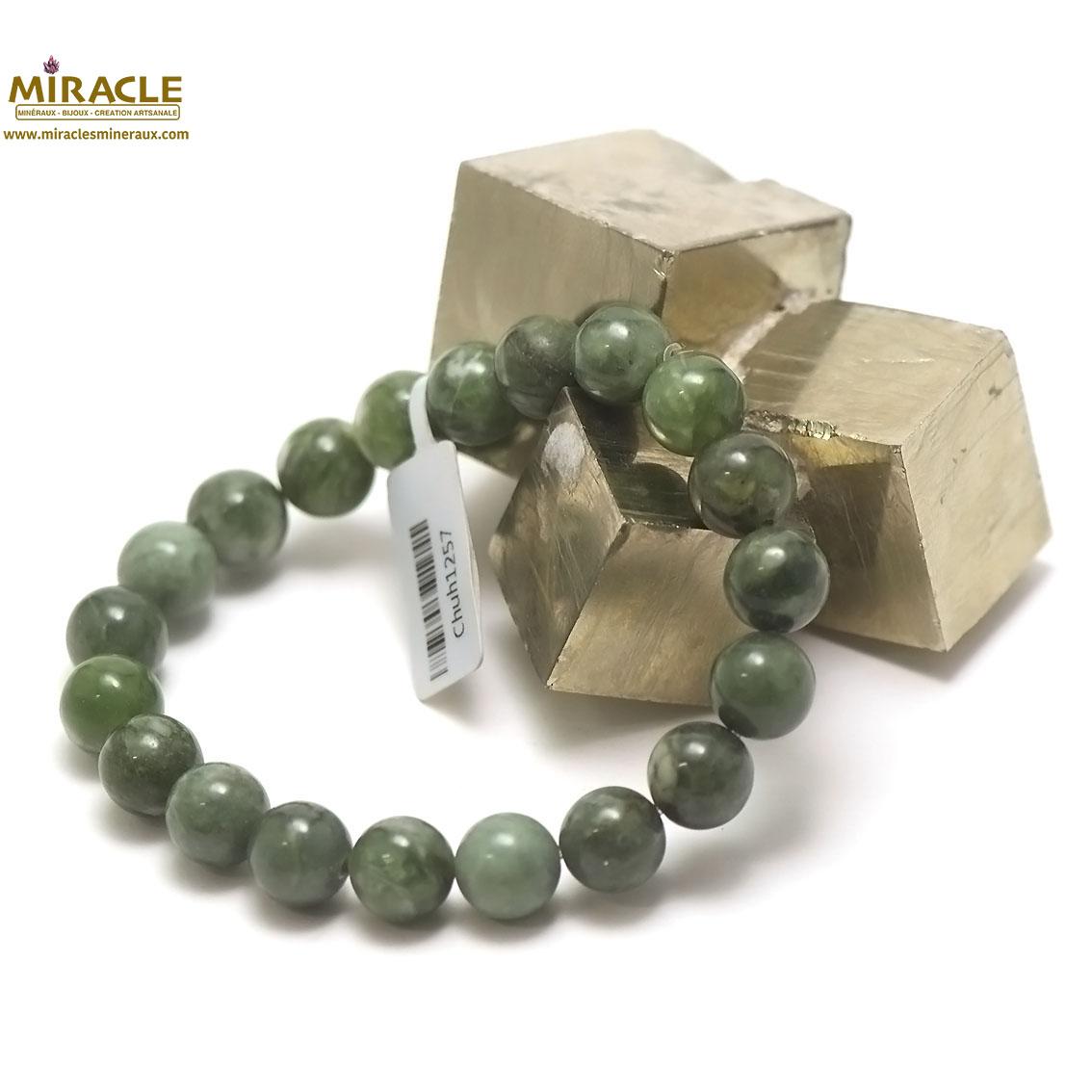 Bracelet jade néphrite de Canada, perle ronde 10 mm