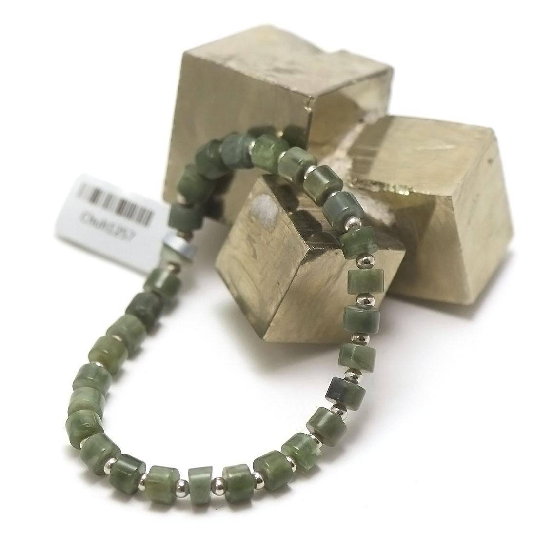 Bracelet jade néphrite de Canada, perle rondelle /perle argenté 3 mm