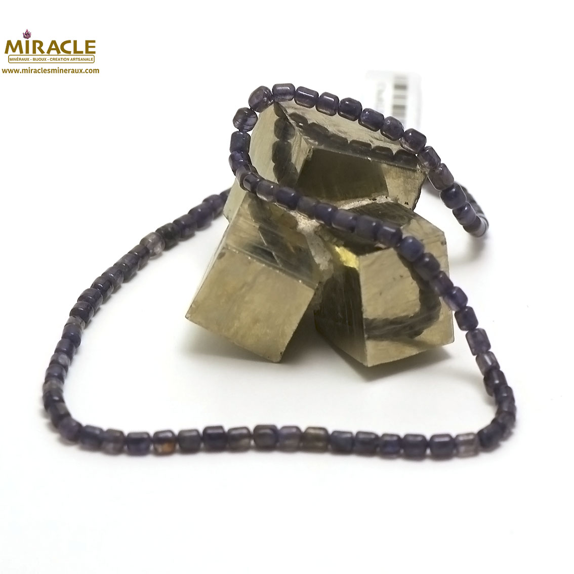 collier iolite, perle tube 5x4 mm