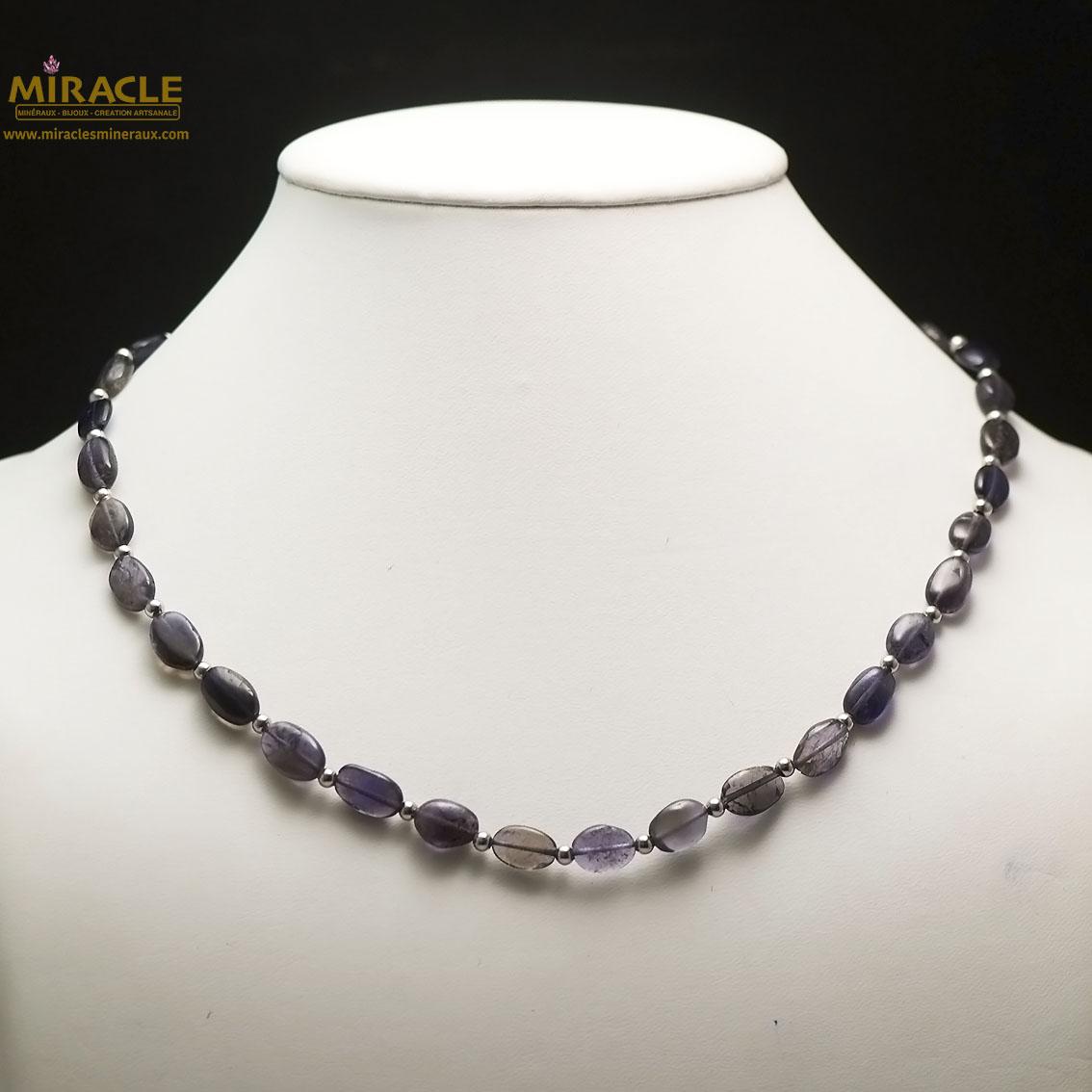 collier iolite, perlepalet oval-perle argenté