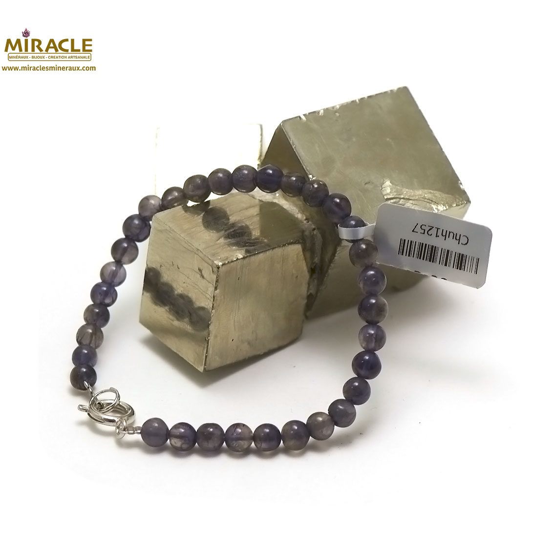 bracelet iolite, perle ronde 5 mm