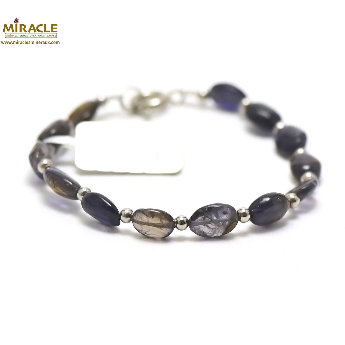bracelet iolite, perletube 5x4 mm