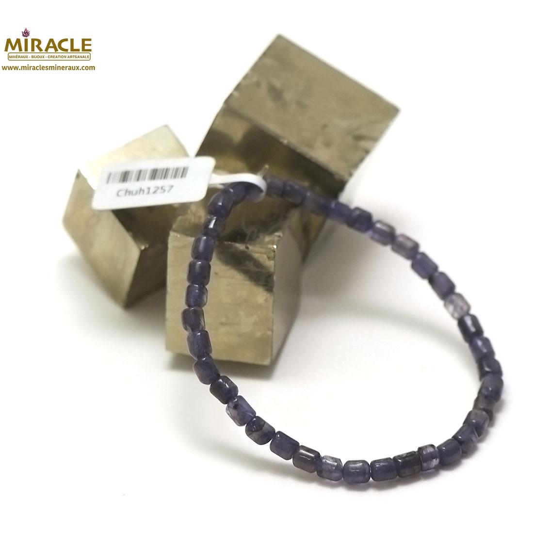 bracelet iolite,perle tube 5x4 mm