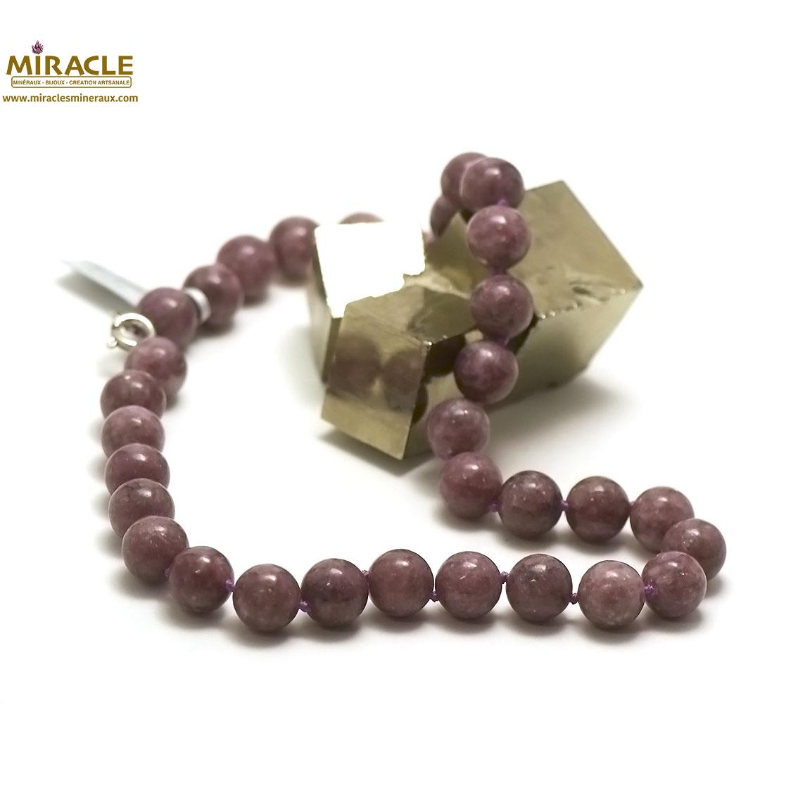 Collier lépidolite, perle ronde 12 mm
