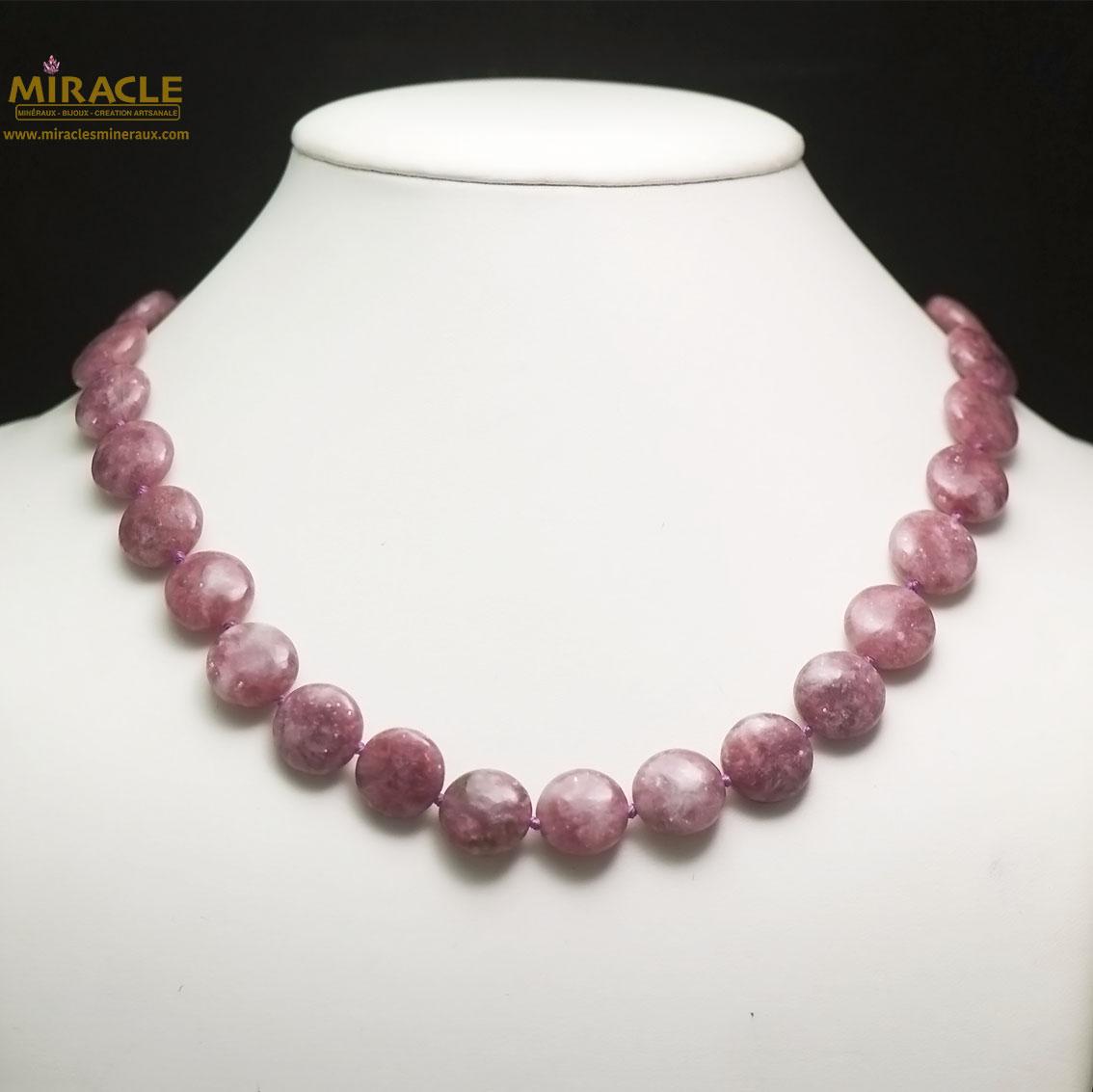 collier Lépidolite, perle palet rond