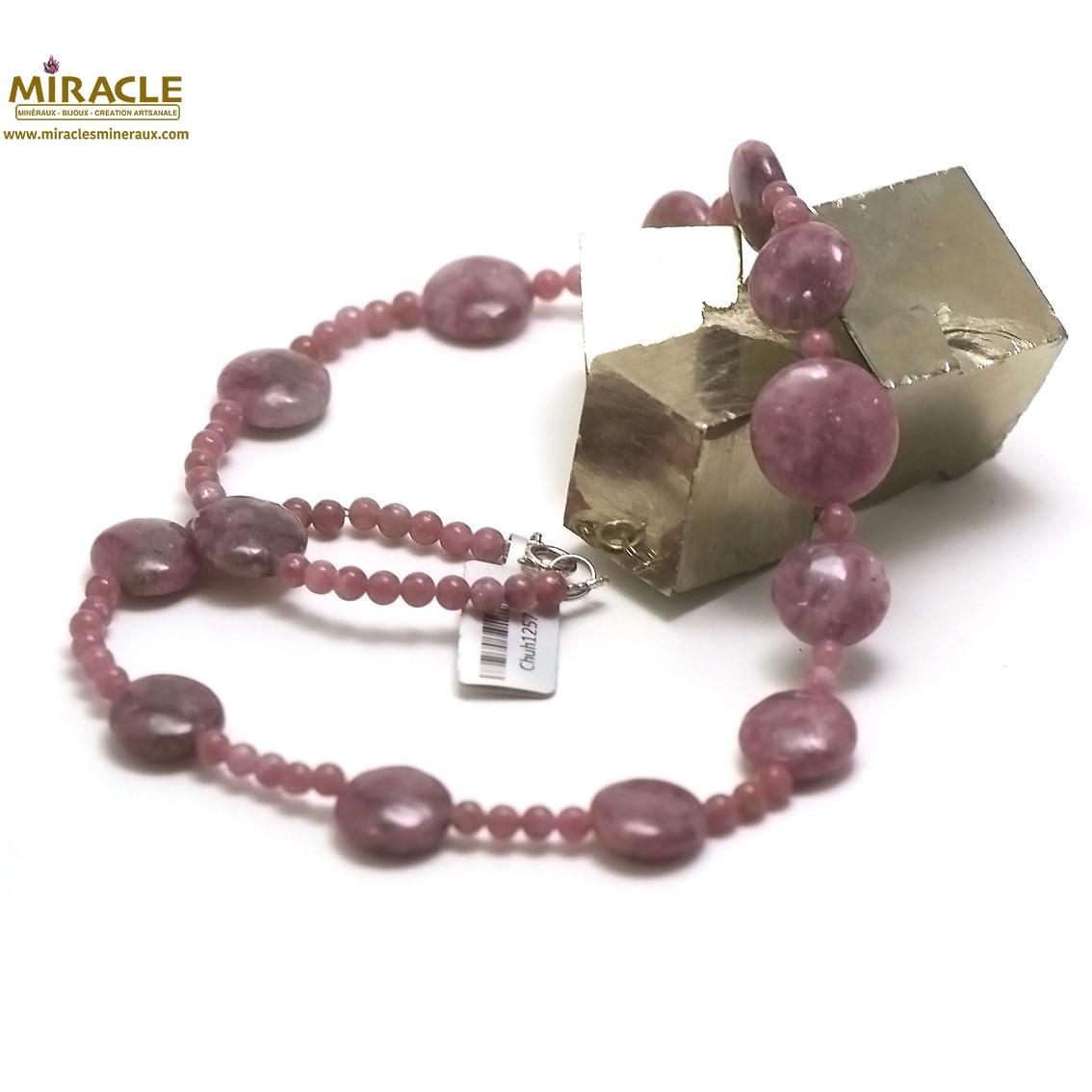 collier Lépidolite, perle palet rond/ronde 4 mm