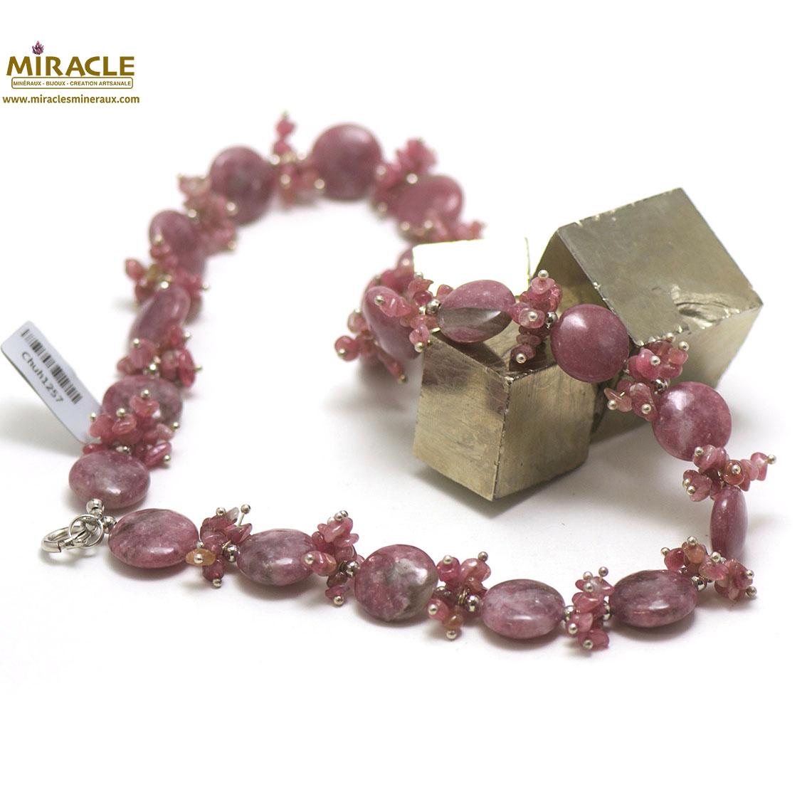 collier de création Lepidolite, perle palet rond/chips
