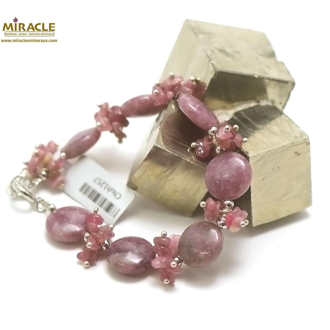 Bracelet de création Lépidolite, perle palet rond/chips