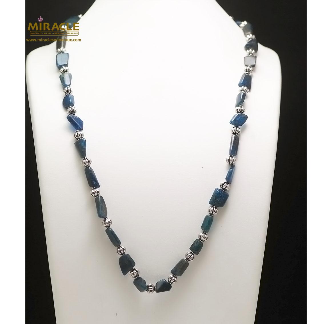 collier long apatite, perle galet baroque/perle argentée