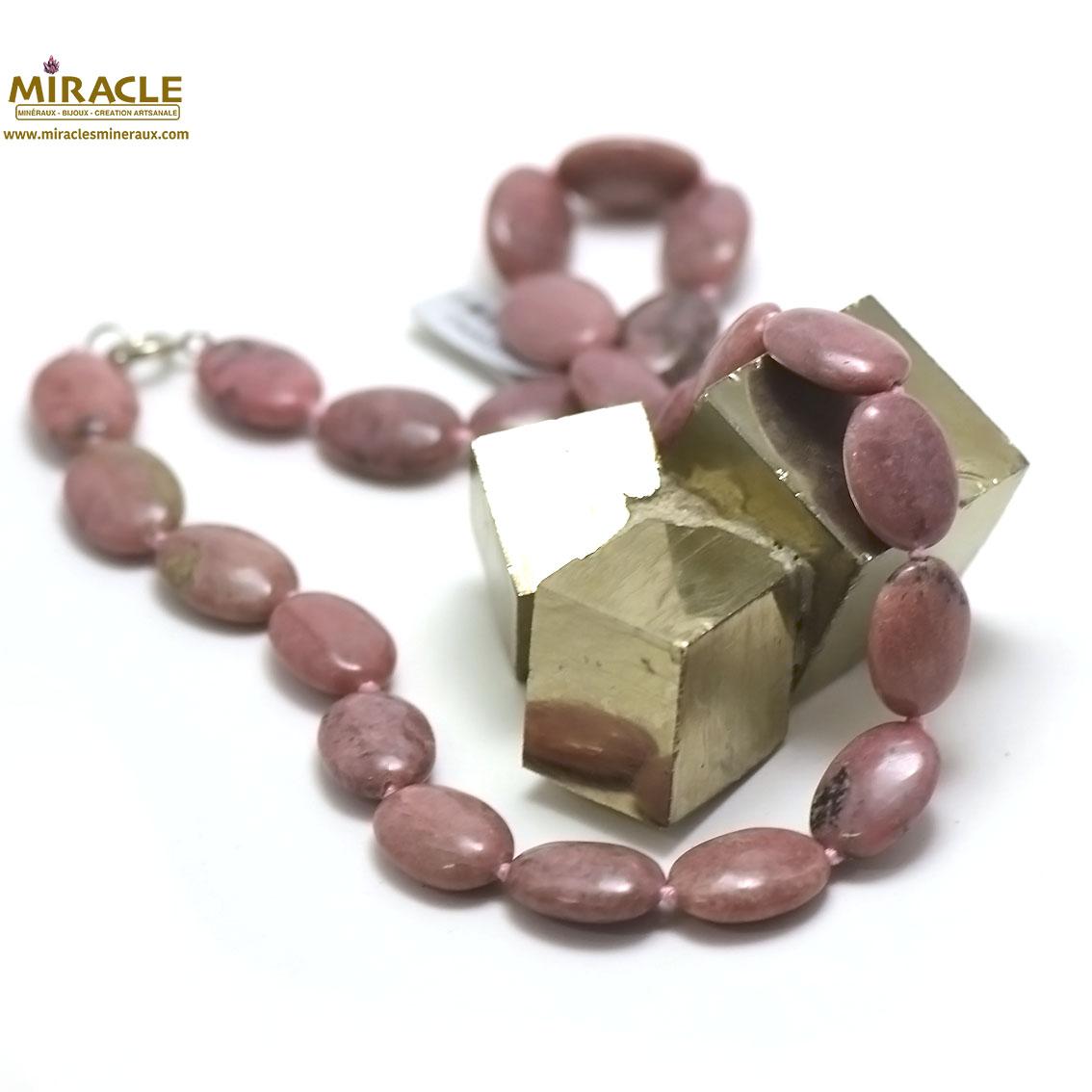 collier rhodonite, perle palet ovale