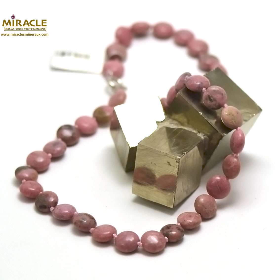 collier rhodonite, perle palet rond