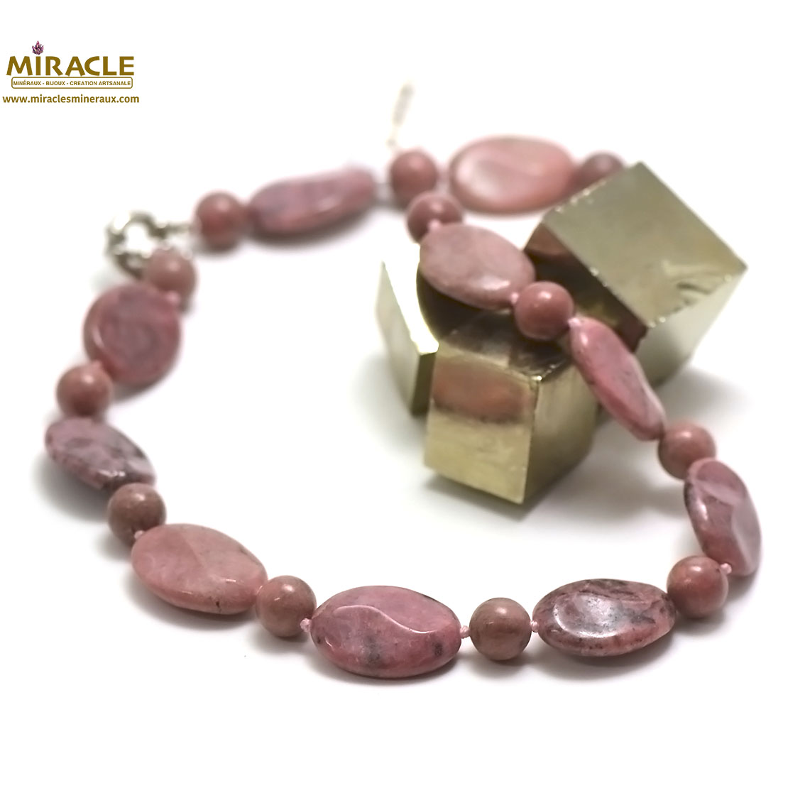 collier rhodonite, perlepalet oval/ronde 10 mm