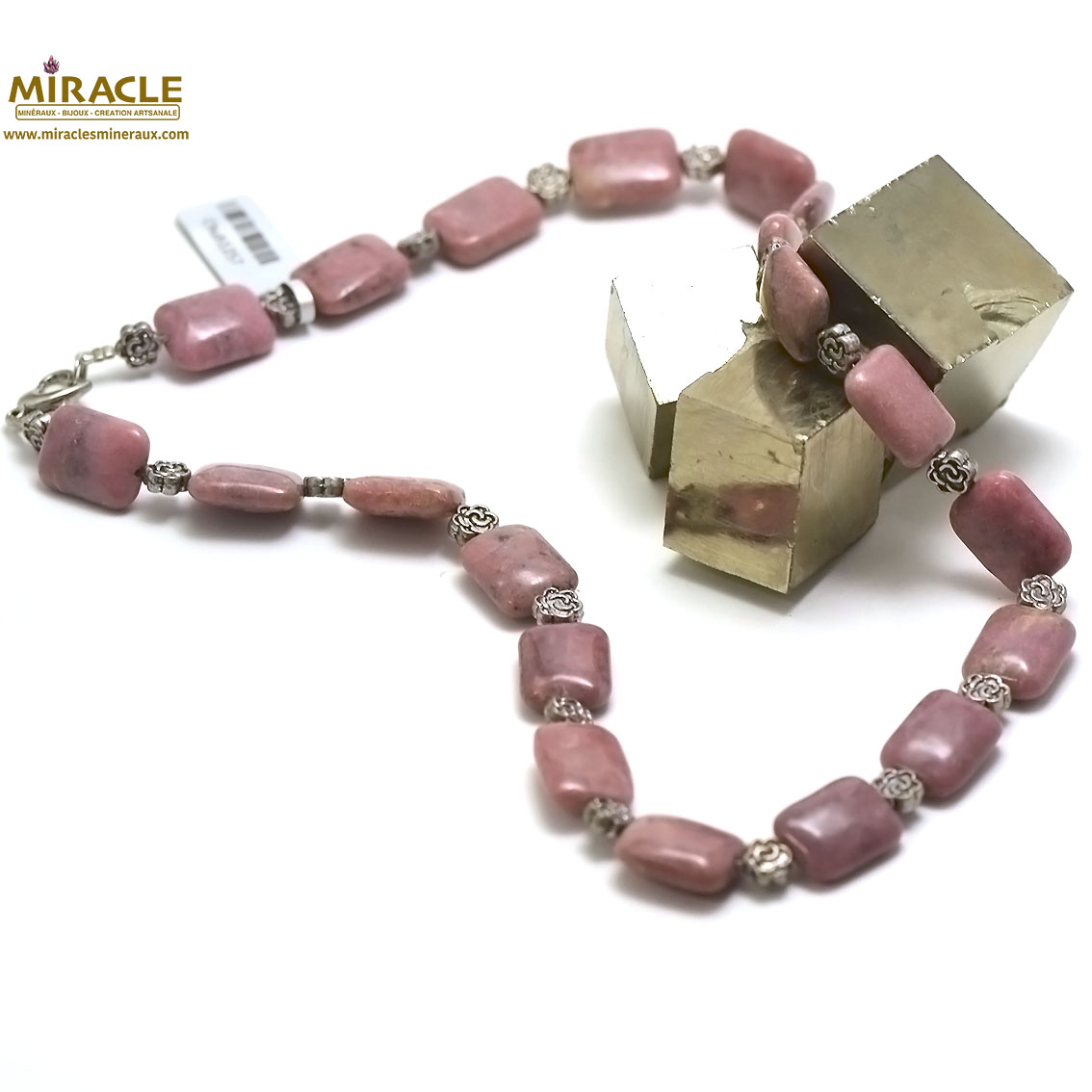 collier rhodonite, perle palet rectangle-perle argentée fleur