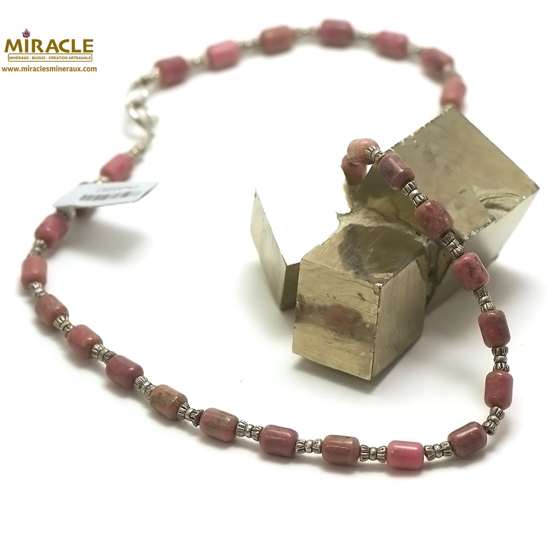 collier rhodonite, perle tube-perle argentée tube