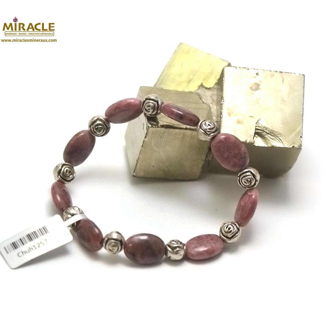 bracelet rhodonite, perle palet oval-perle argentée fleur