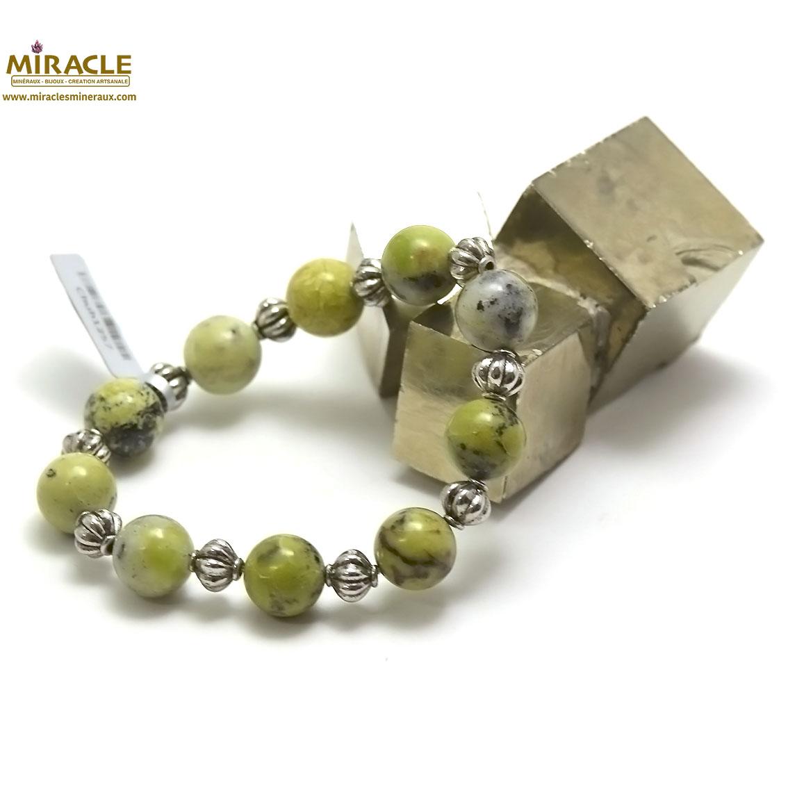 bracelet chrysoprase, perle ronde 12 mm-perle argentées