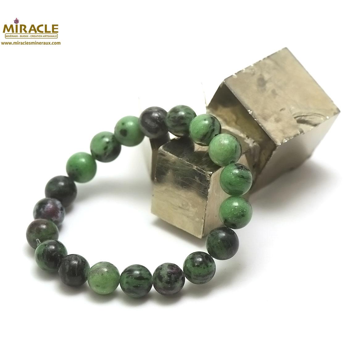 bracelet zoïsite, perle ronde 10 mm