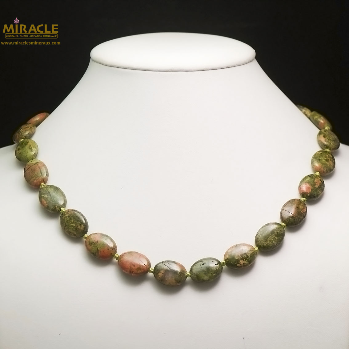 collier unakite, perle palet oval