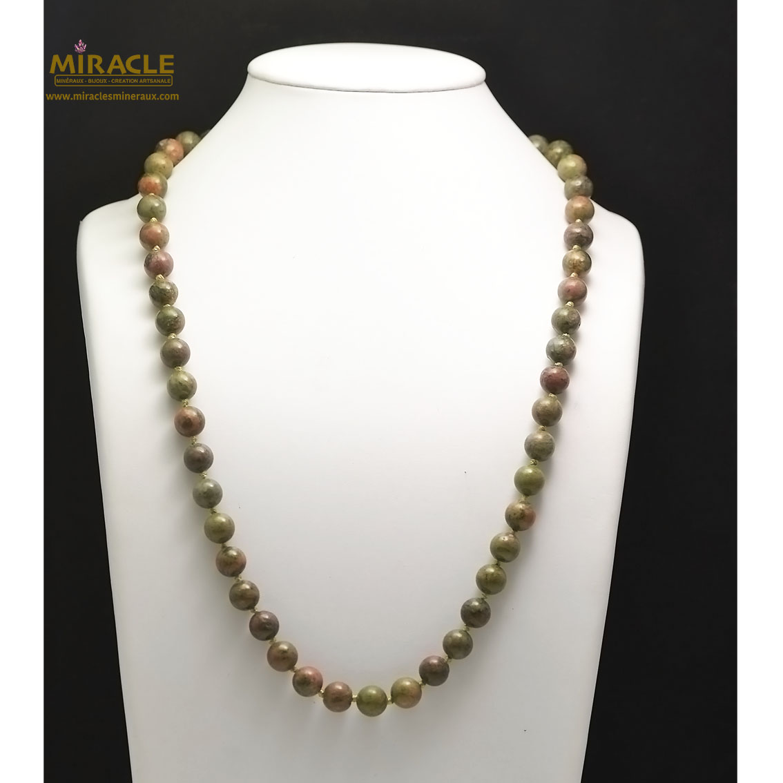 collier mi-long unakite, perle ronde 10 mm