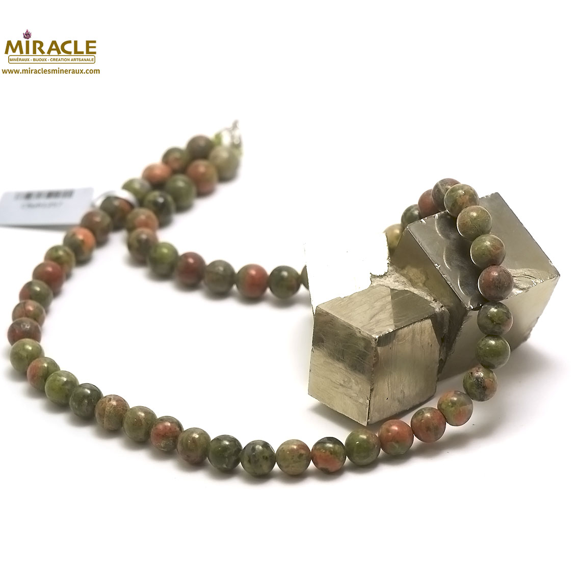 collier unakite, perle ronde 8 mm