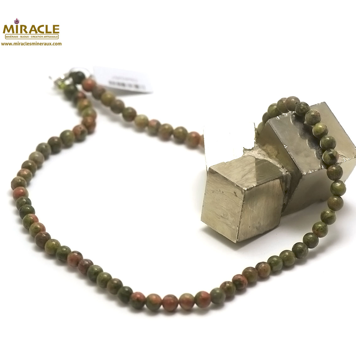 collier unakite, perle ronde 6 mm