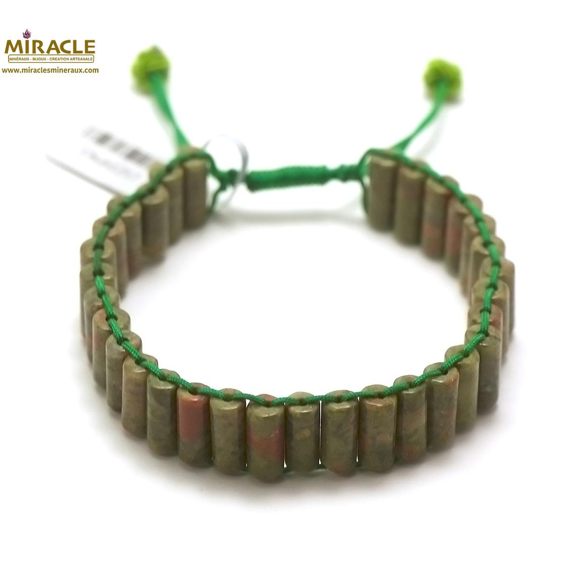 bracelet unakite, perle tube style shamballa