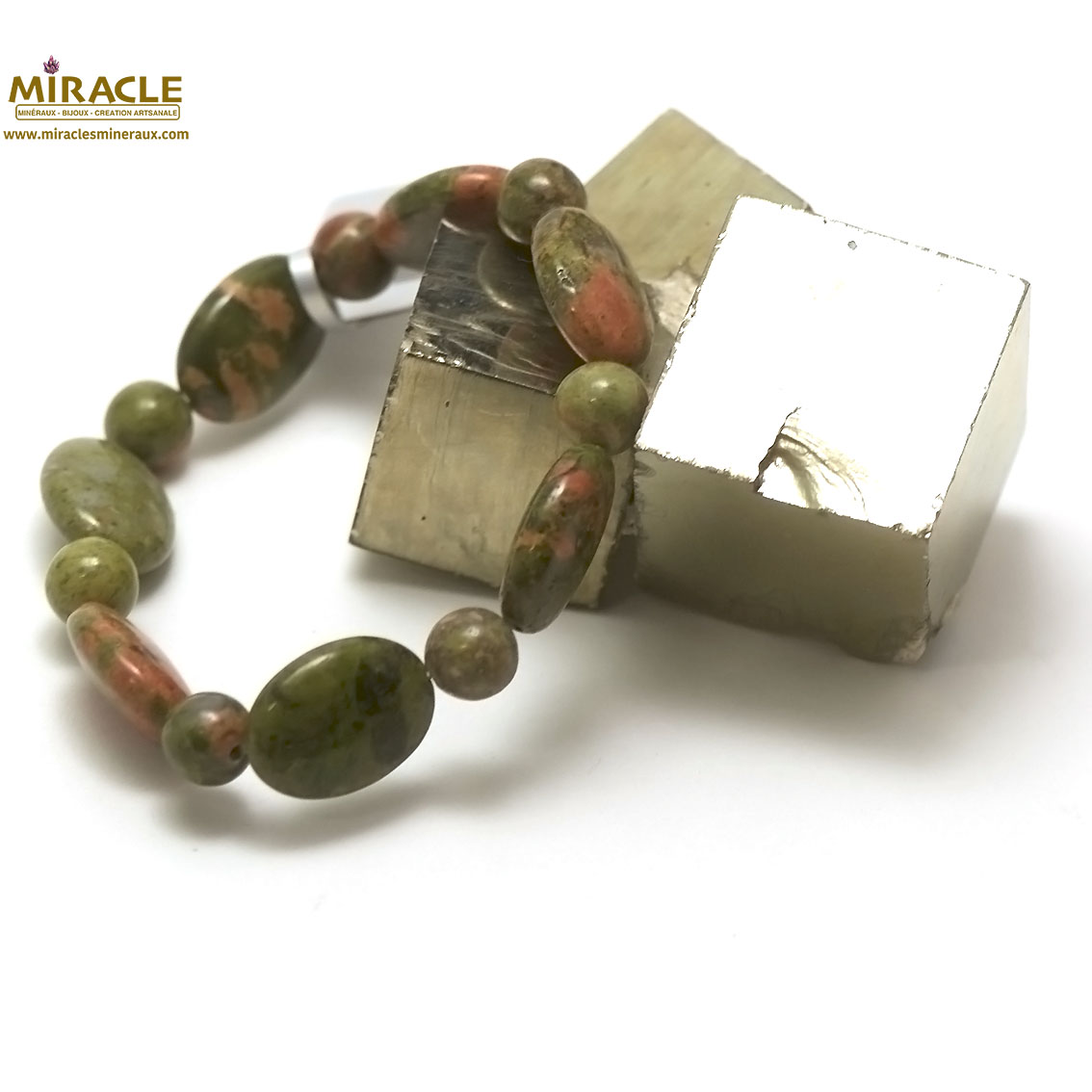 bracelet unakite, perle palet oval-ronde 8 mm