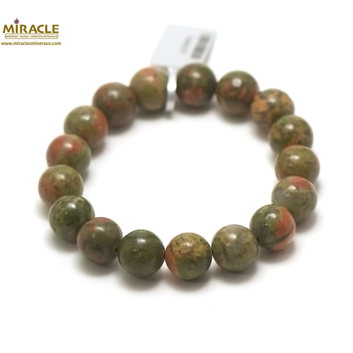 bracelet unakite, perle ronde 12 mm