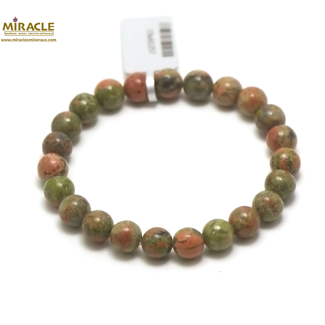 bracelet unakite, perle ronde 8 mm