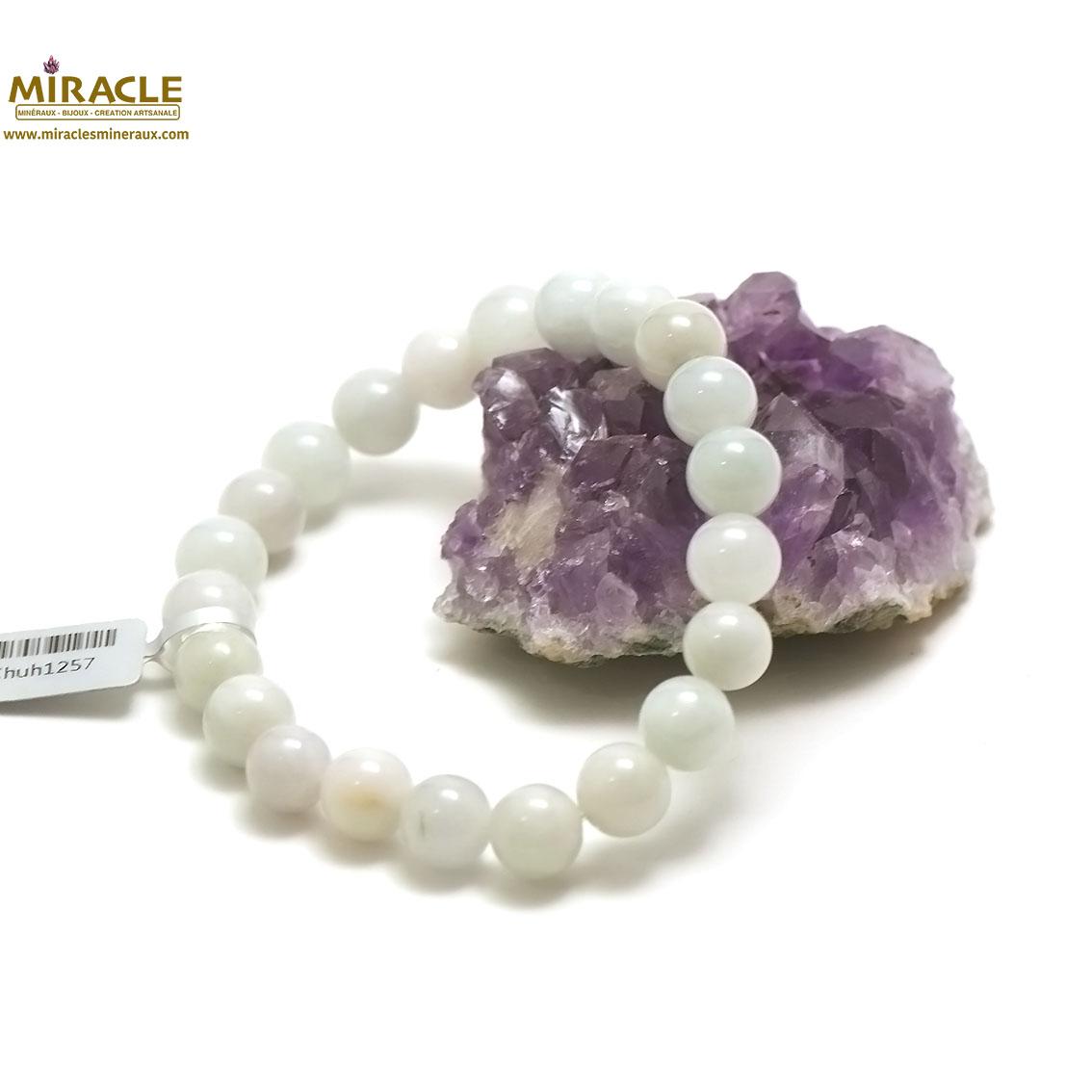 bracelet jade, perle ronde 10 mm, vert clair