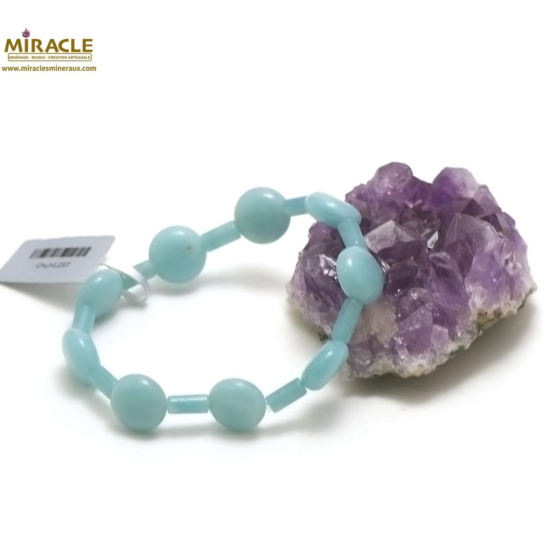 bracelet amazonite, perlepalet rond/tube