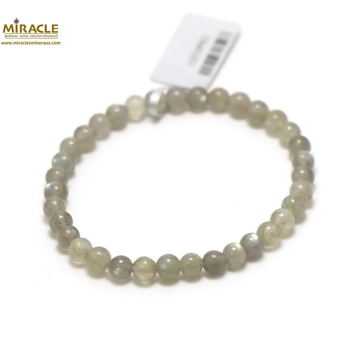 bracelet labradorite, perle ronde 6 mm
