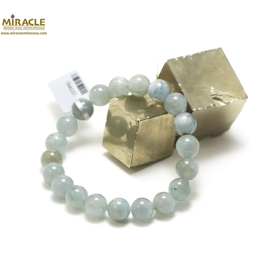 bracelet aigue marine, perle ronde 10 mm