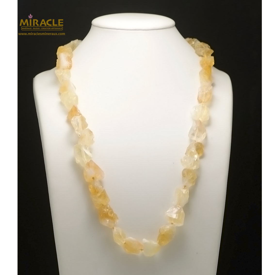 collier long citrine, perle galet brut baroque