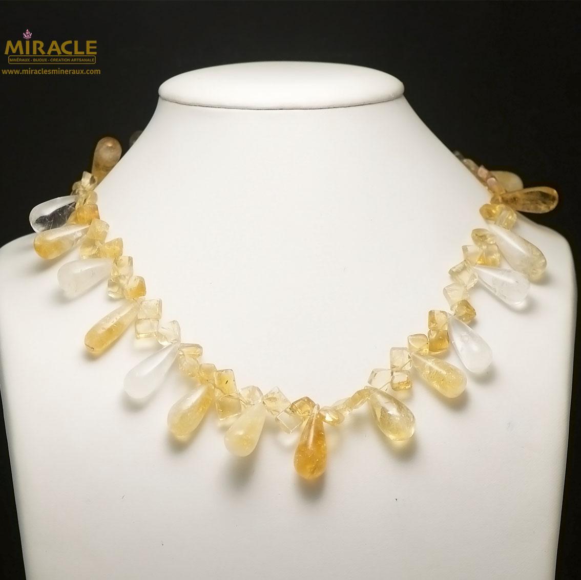 collier citrine, perle goutte d\'eau horizontal