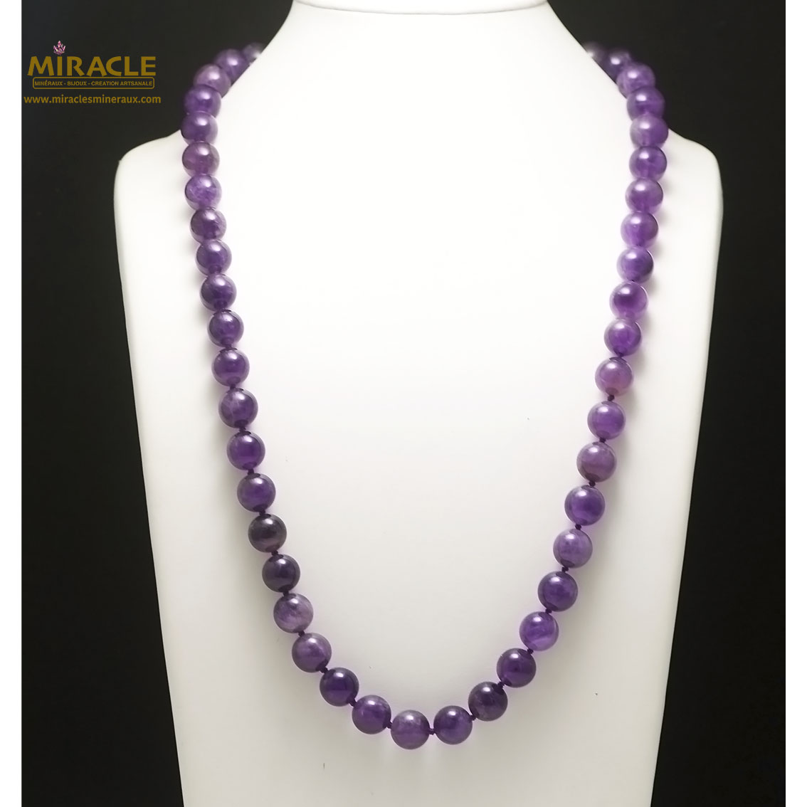 collier long améthyste, perle ronde 12 mm
