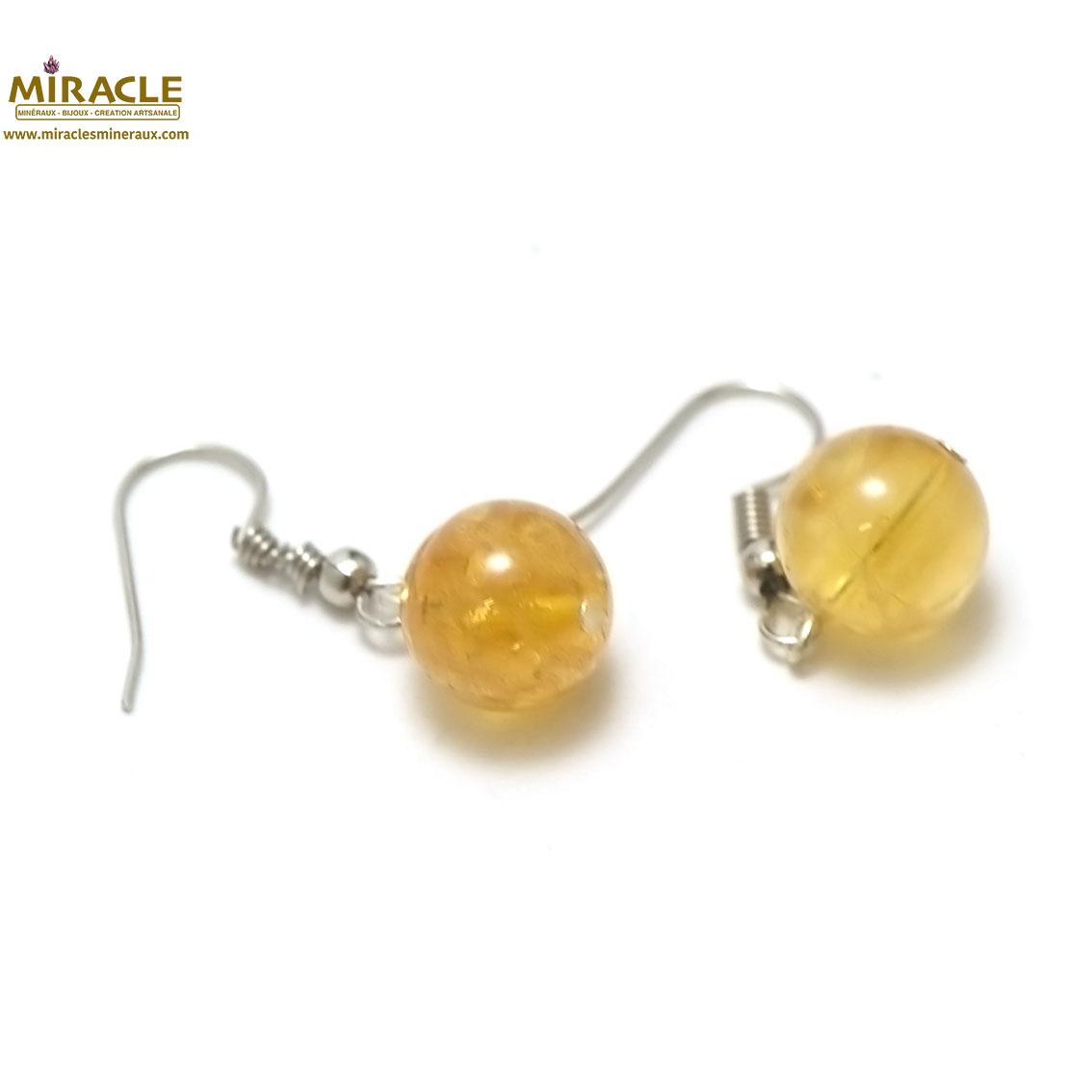 boucle d\'oreille citrine, perlerond 11 mm